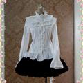 クラシック ロリィブラウス 3色あり 長袖 レース 編み上げ 綿質