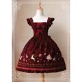 編み上げ ロリィタ/ロリータワンピース リボン 蝶むすび 裾のレース 刺繍の花柄 3色あり