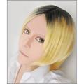 ハイキュー!! 孤爪 研磨(コヅメ ケンマ) ショート ブラックと金色 コスプレウィッグ