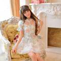 お嬢様 スイート 蝶結び 花柄 立襟 オーガンザ ワンピース オリジナル衣装