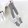 ロリータ靴下 縞模様 プリント 白色/灰色 2色選択可 ストッキング ゴスロリ ソックス