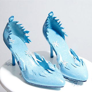 アナと雪の女王 Frozen Disney エルサ(Elsa) ブルー  合皮  コスプレ靴