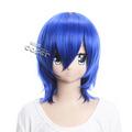 Vocaloid KAITO ブルー 耐熱新素材 セミロング コスプレウィッグ